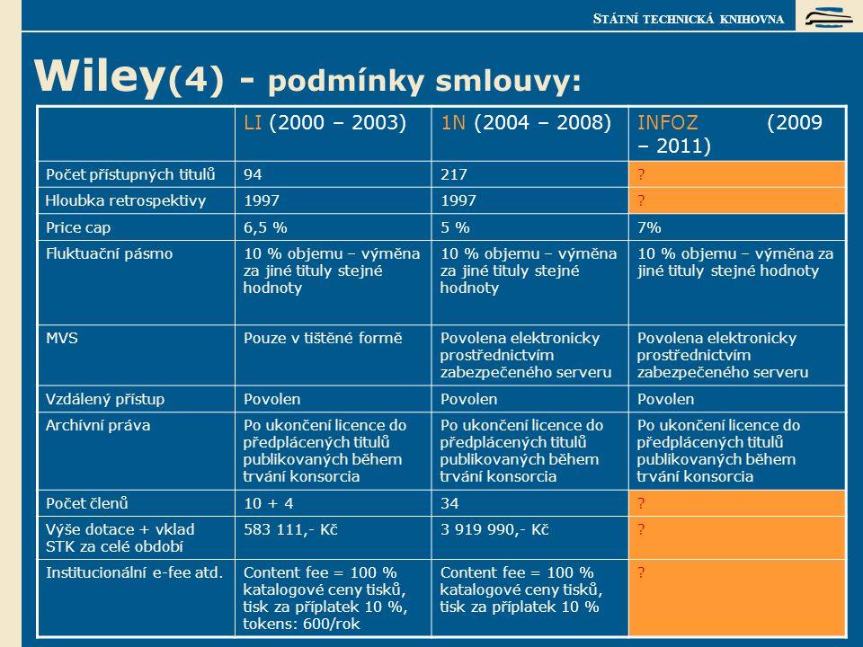 S TÁTNÍ TECHNICKÁ KNIHOVNA Wiley (4) - podmínky smlouvy: LI (2000 – 2003)1N (2004 – 2008)INFOZ (2009 – 2011) Počet přístupných titulů94217.