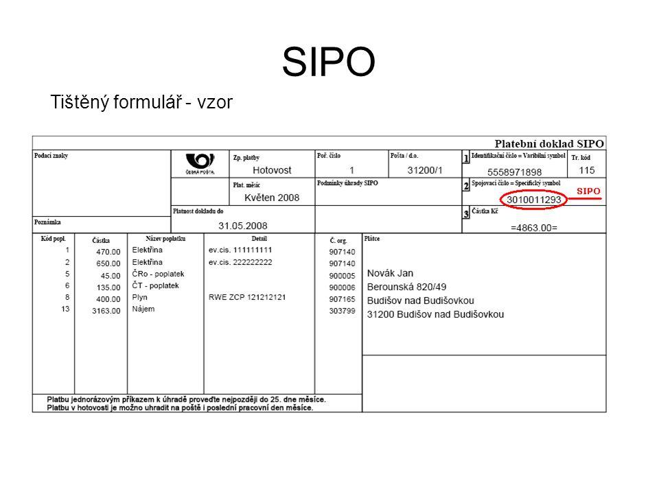 SIPO Tištěný formulář - vzor