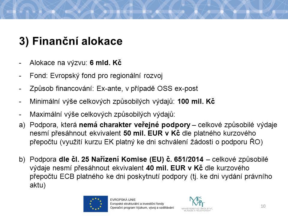 -Alokace na výzvu: 6 mld. Kč -Fond: Evropský fond pro regionální rozvoj -Způsob financování: Ex-ante, v případě OSS ex-post -Minimální výše celkových
