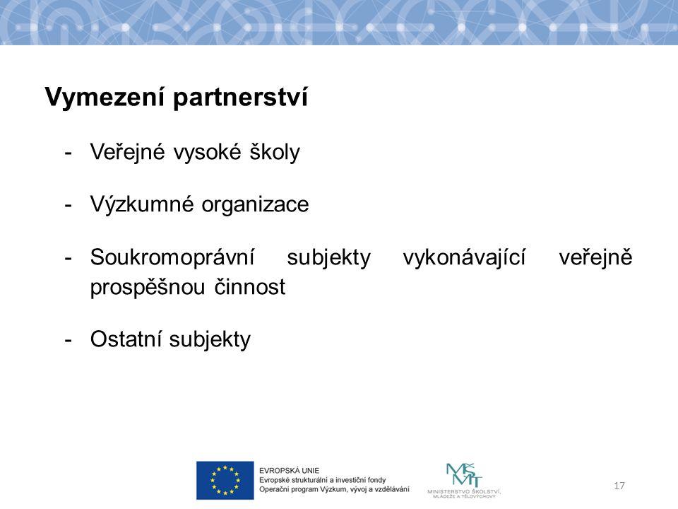 -Veřejné vysoké školy -Výzkumné organizace -Soukromoprávní subjekty vykonávající veřejně prospěšnou činnost -Ostatní subjekty 17 Vymezení partnerství