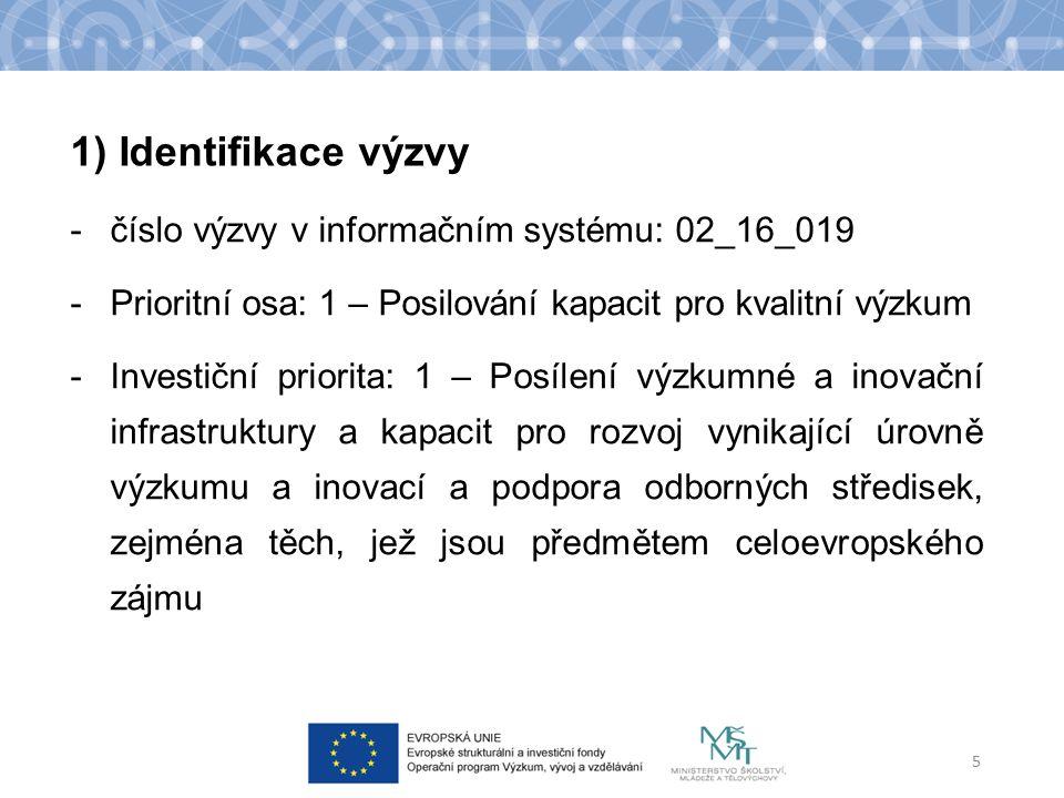 SC 1: Zvýšení mezinárodní kvality výzkumu a jeho výsledků 6 Specifický cíl Typ podporovaných operací/ projektů individuální projekt