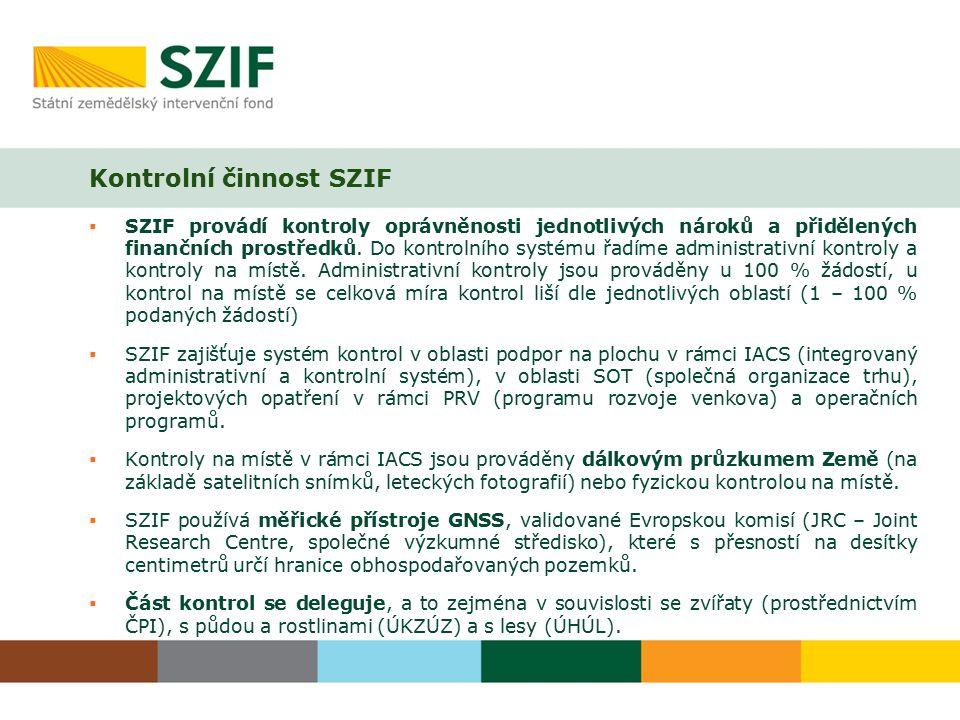  SZIF provádí kontroly oprávněnosti jednotlivých nároků a přidělených finančních prostředků. Do kontrolního systému řadíme administrativní kontroly a