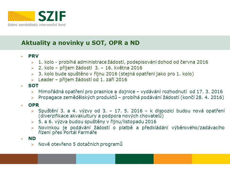 Aktuality a novinky u SOT, OPR a ND  PRV  1. kolo - probíhá administrace žádostí, podepisování dohod od června 2016  2. kolo – příjem žádostí 3. –
