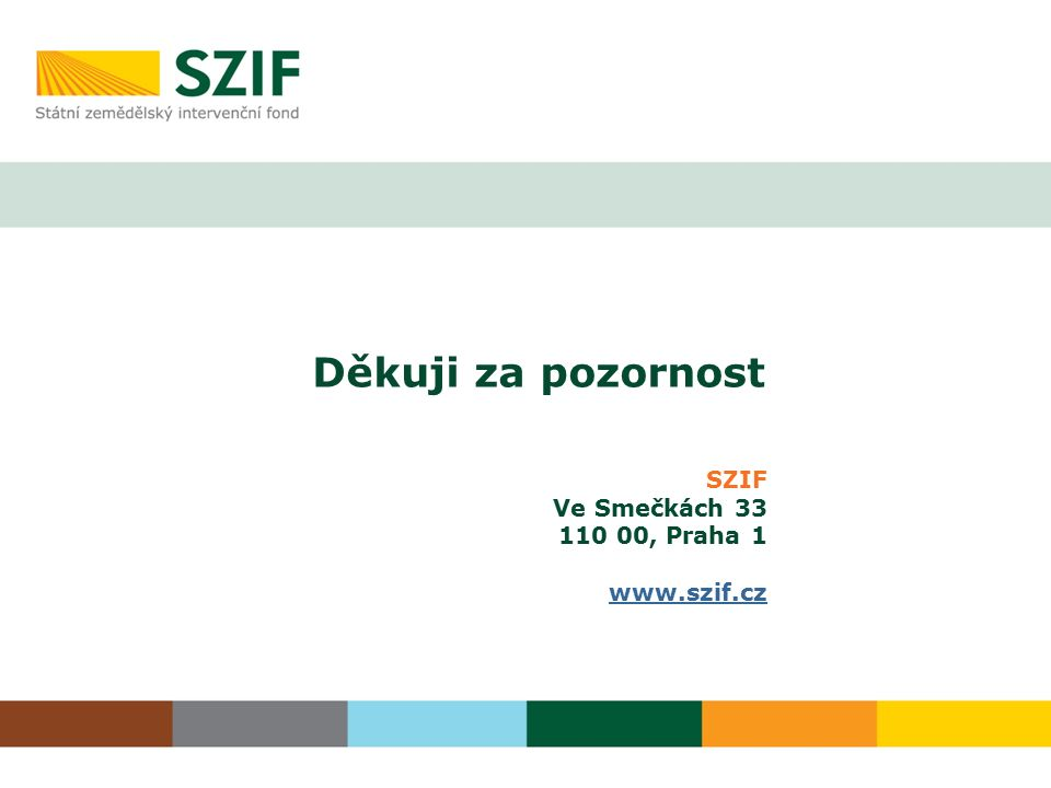 Děkuji za pozornost SZIF Ve Smečkách 33 110 00, Praha 1 www.szif.cz