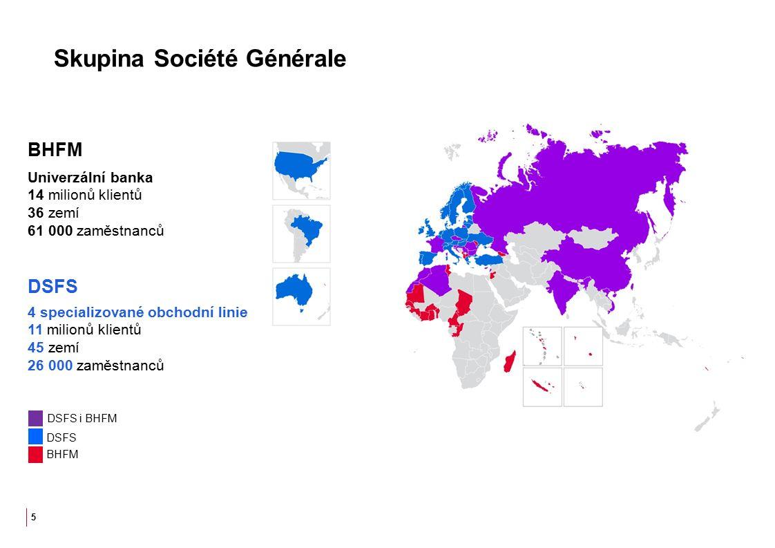 Skupina Société Générale 5 Univerzální banka 14 milionů klientů 36 zemí 61 000 zaměstnanců BHFM 4 specializované obchodní linie 11 milionů klientů 45 zemí 26 000 zaměstnanců DSFS DSFS i BHFM DSFS BHFM