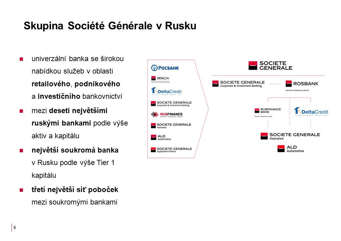 Skupina Société Générale v Rusku univerzální banka se širokou nabídkou služeb v oblasti retailového, podnikového a investičního bankovnictví mezi deseti největšími ruskými bankami podle výše aktiv a kapitálu největší soukromá banka v Rusku podle výše Tier 1 kapitálu třetí největší síť poboček mezi soukromými bankami 6