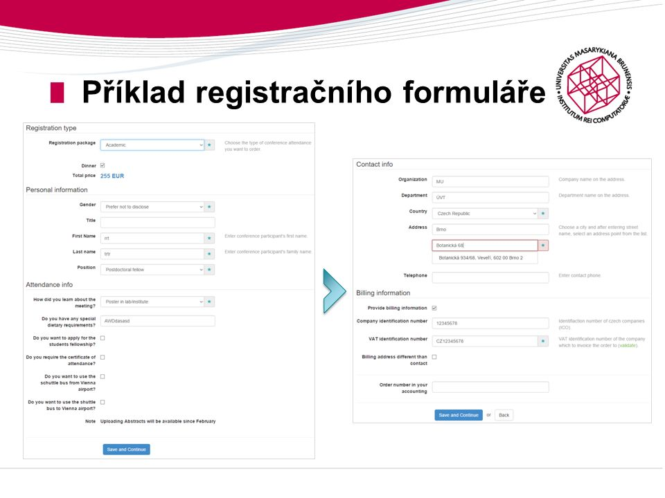 Příklad registračního formuláře