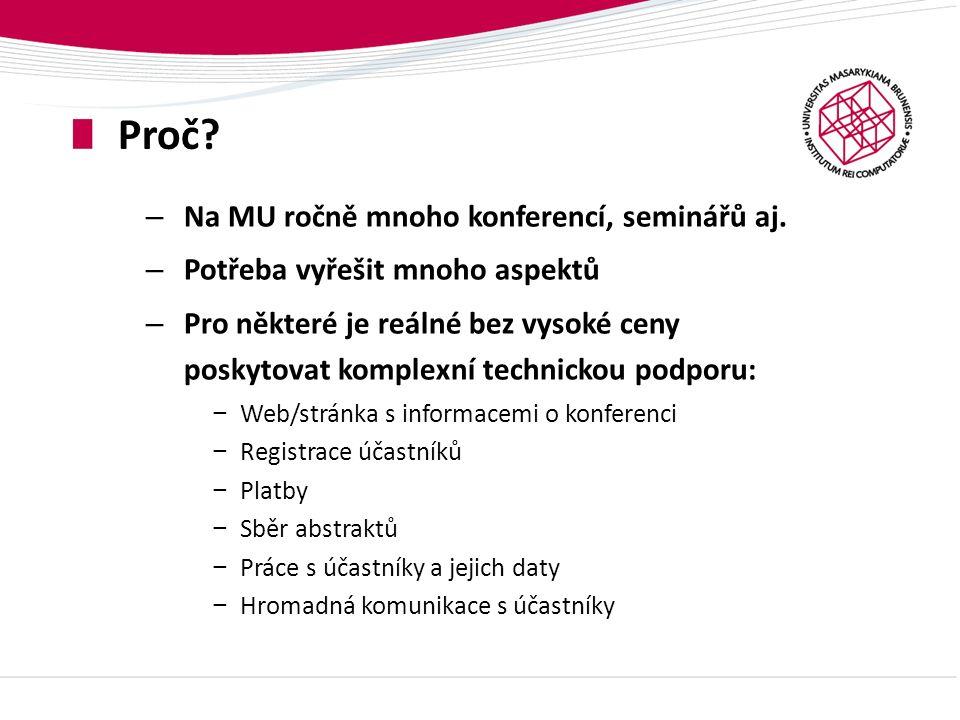 Konferenční systém ÚVT Pro konference poskytuje všechny zmíněné funkce: Pro účastníky konference – na webu: – Vytvoření trvalého uživatelského účtu – Registrační formulář na míru vč.