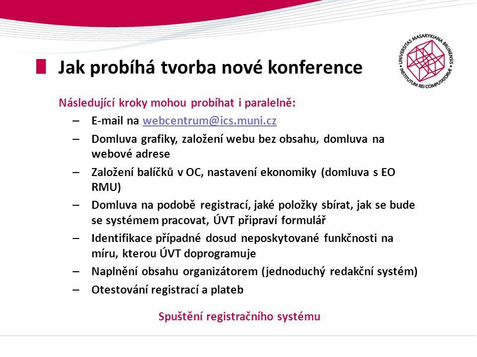 Jak probíhá tvorba nové konference Následující kroky mohou probíhat i paralelně: – E-mail na webcentrum@ics.muni.czwebcentrum@ics.muni.cz – Domluva gr