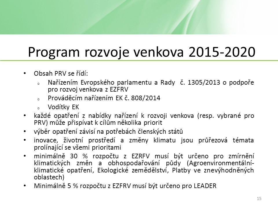 Program rozvoje venkova 2015-2020 Obsah PRV se řídí: o Nařízením Evropského parlamentu a Rady č.
