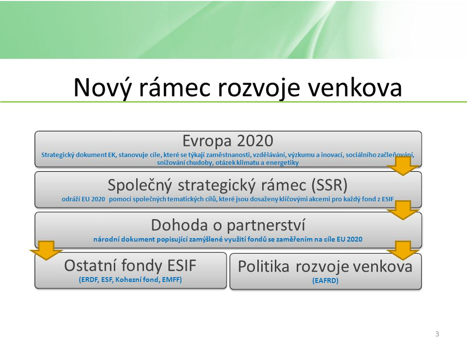 Nový rámec rozvoje venkova Evropa 2020 Strategický dokument EK, stanovuje cíle, které se týkají zaměstnanosti, vzdělávání, výzkumu a inovací, sociálního začleňování, snižování chudoby, otázek klimatu a energetiky Společný strategický rámec (SSR) odráží EU 2020 pomocí společných tematických cílů, které jsou dosaženy klíčovými akcemi pro každý fond z ESIF Dohoda o partnerství národní dokument popisující zamýšlené využití fondů se zaměřením na cíle EU 2020 Ostatní fondy ESIF (ERDF, ESF, Kohezní fond, EMFF) Politika rozvoje venkova (EAFRD) 3