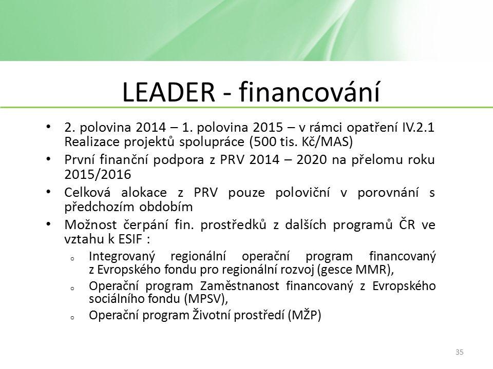LEADER - financování 2. polovina 2014 – 1.
