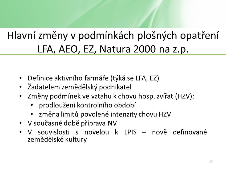 Hlavní změny v podmínkách plošných opatření LFA, AEO, EZ, Natura 2000 na z.p.