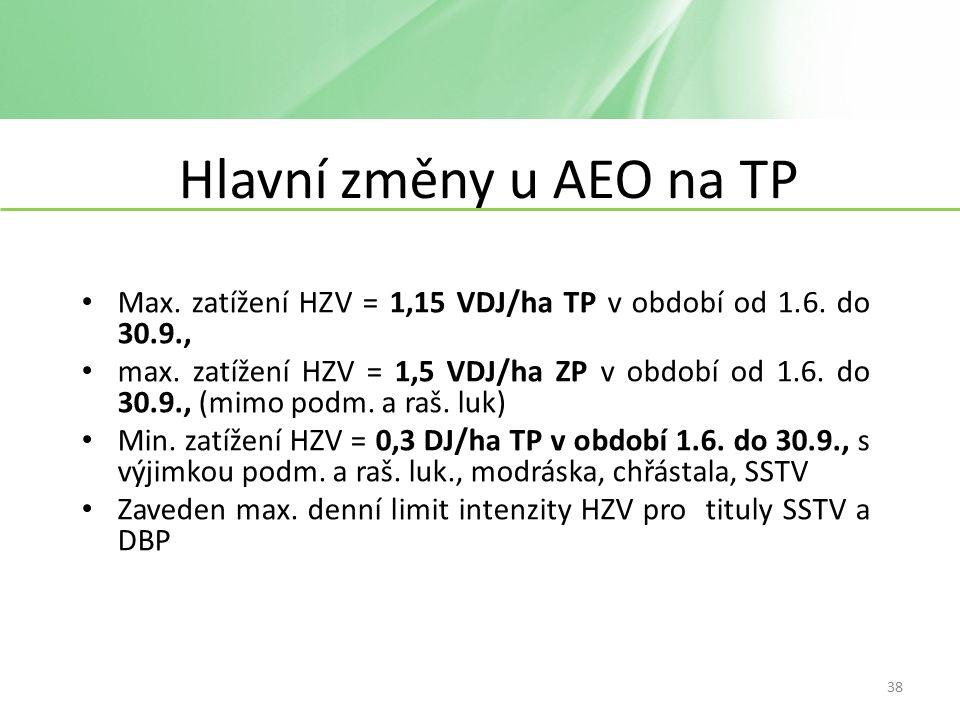 Hlavní změny u AEO na TP Max. zatížení HZV = 1,15 VDJ/ha TP v období od 1.6.