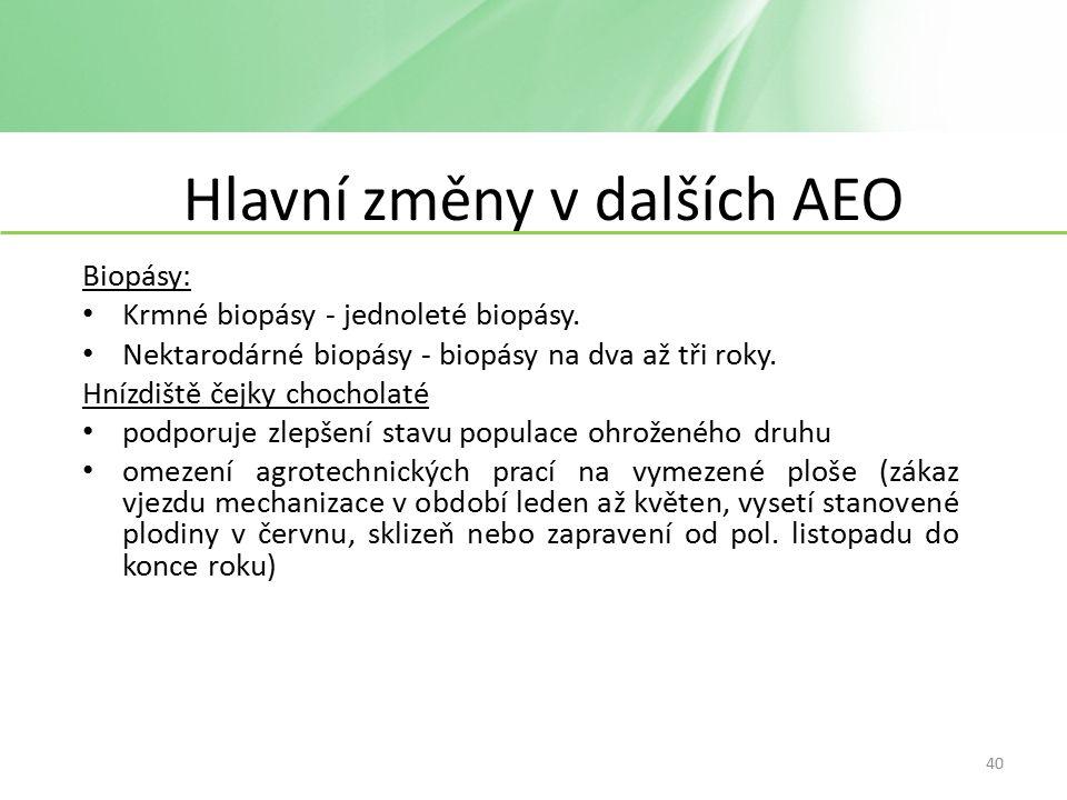 Hlavní změny v dalších AEO Biopásy: Krmné biopásy - jednoleté biopásy.