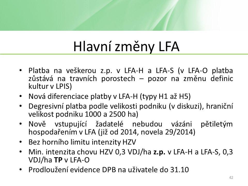 Hlavní změny LFA Platba na veškerou z.p.