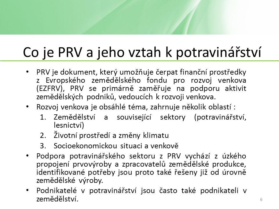 Co je PRV a jeho vztah k potravinářství PRV je dokument, který umožňuje čerpat finanční prostředky z Evropského zemědělského fondu pro rozvoj venkova (EZFRV), PRV se primárně zaměřuje na podporu aktivit zemědělských podniků, vedoucích k rozvoji venkova.