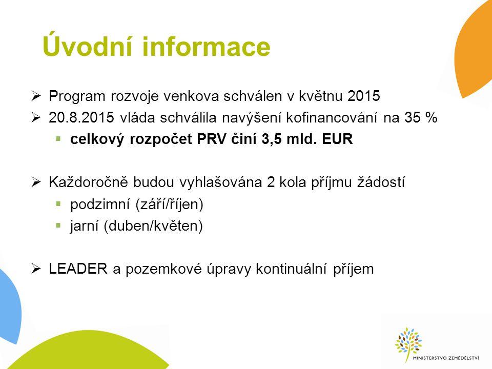 Úvodní informace  Program rozvoje venkova schválen v květnu 2015  20.8.2015 vláda schválila navýšení kofinancování na 35 %  celkový rozpočet PRV činí 3,5 mld.