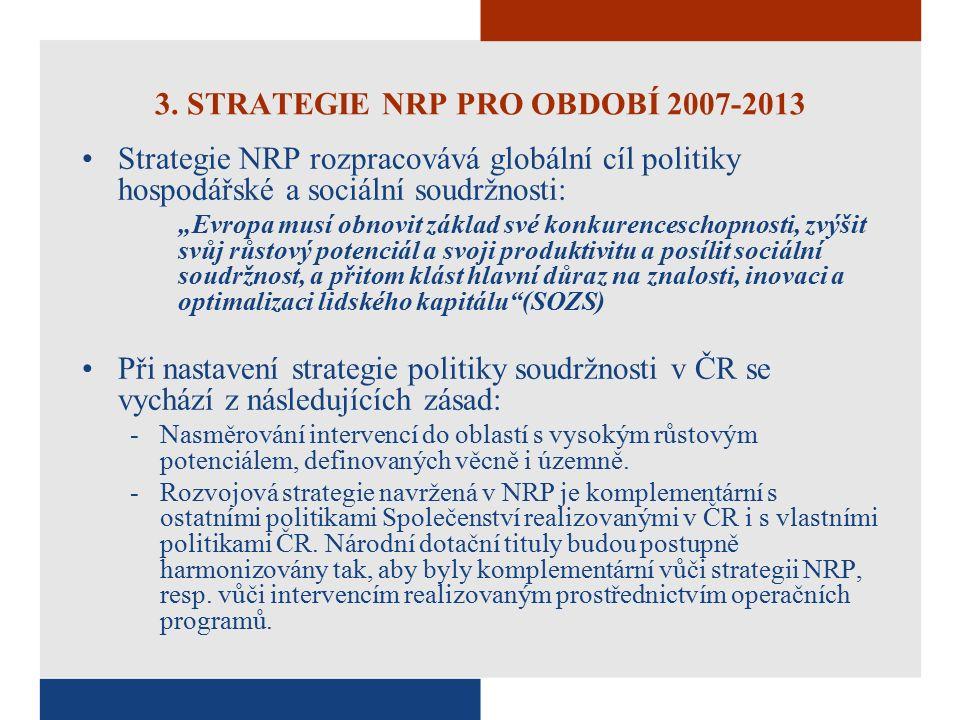 """3. STRATEGIE NRP PRO OBDOBÍ 2007-2013 Strategie NRP rozpracovává globální cíl politiky hospodářské a sociální soudržnosti: """"Evropa musí obnovit základ"""