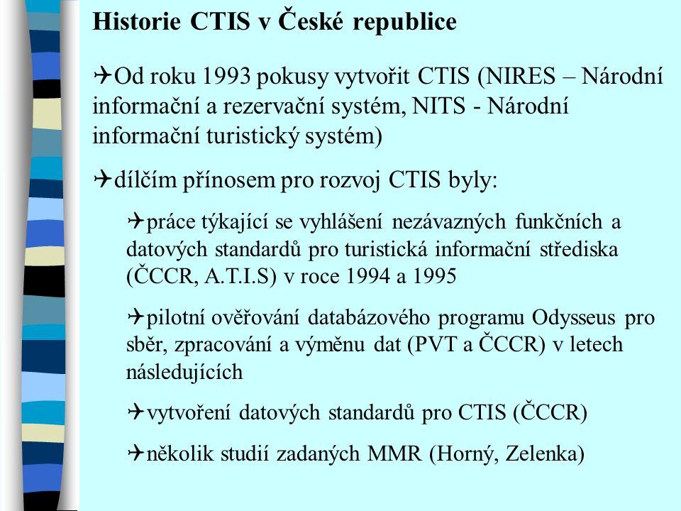 Úvod  Význam turistického informačního systému pro CR:  Návštěvníci - prezentace, vyhledávání, rezervace, E-business, jízdní řády atd.