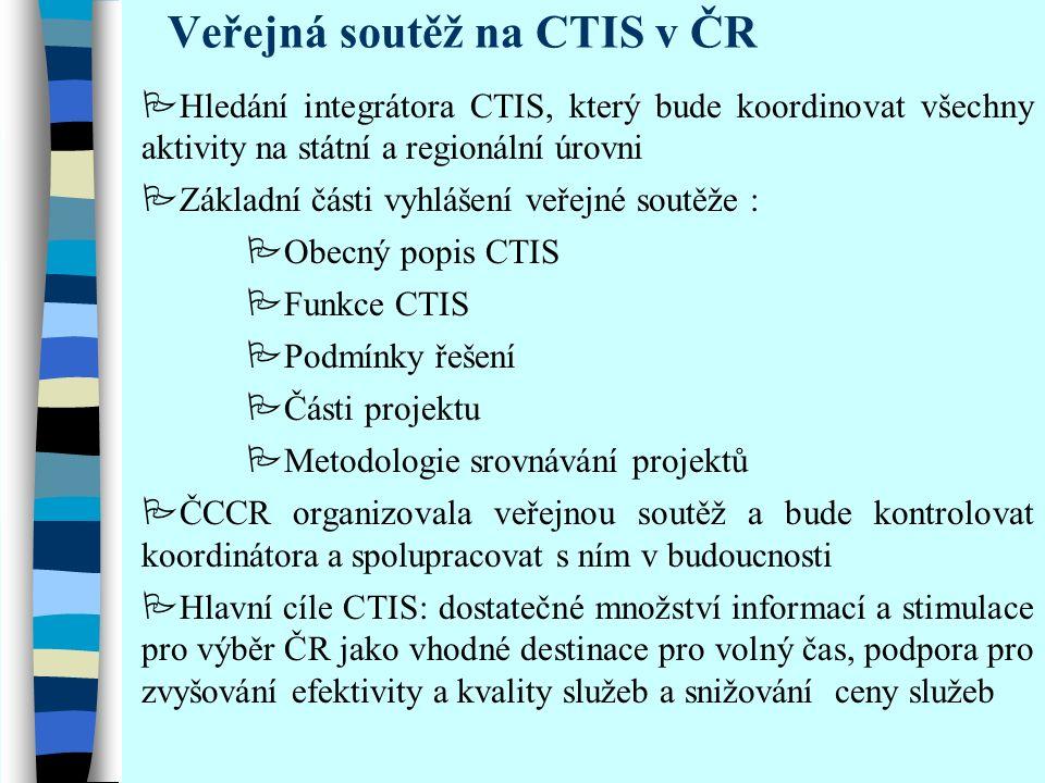 Historie CTIS v České republice  V roce 1999 příprava koncepce a pravidel pro veřejnou soutěž  zásadní změnou koncepce, akceptující možnosti ICT a vycházející z obecnějšího pojetí CTIS, je přechod od představy jednotného CTIS k pojetí koordinovaného CTIS  V roce 2000 veřejná soutěž – vítězí firma Bedy (http://www-bedy.cz), systém IISCR (Czechtourservice)http://www-bedy.cz  V roce 2001 předvedení demoverze systému  2002 snaha integrovat IS na úrovni regionů  2003 ukončení vývoje IISCR