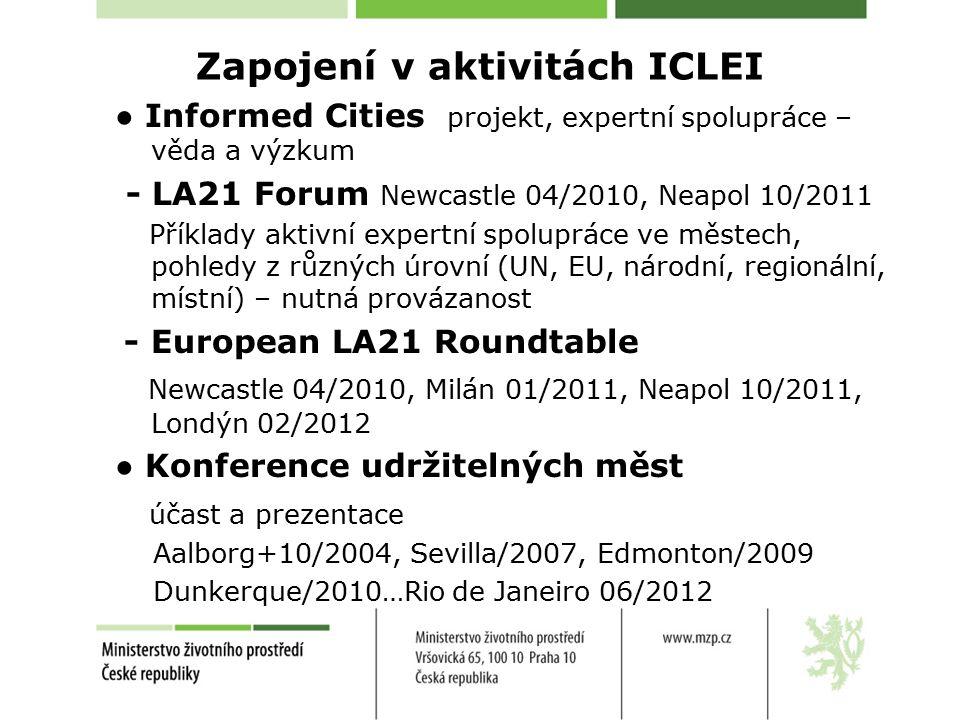 Zapojení v aktivitách ICLEI ● Informed Cities projekt, expertní spolupráce – věda a výzkum - LA21 Forum Newcastle 04/2010, Neapol 10/2011 Příklady aktivní expertní spolupráce ve městech, pohledy z různých úrovní (UN, EU, národní, regionální, místní) – nutná provázanost - European LA21 Roundtable Newcastle 04/2010, Milán 01/2011, Neapol 10/2011, Londýn 02/2012 ● Konference udržitelných měst účast a prezentace Aalborg+10/2004, Sevilla/2007, Edmonton/2009 Dunkerque/2010…Rio de Janeiro 06/2012