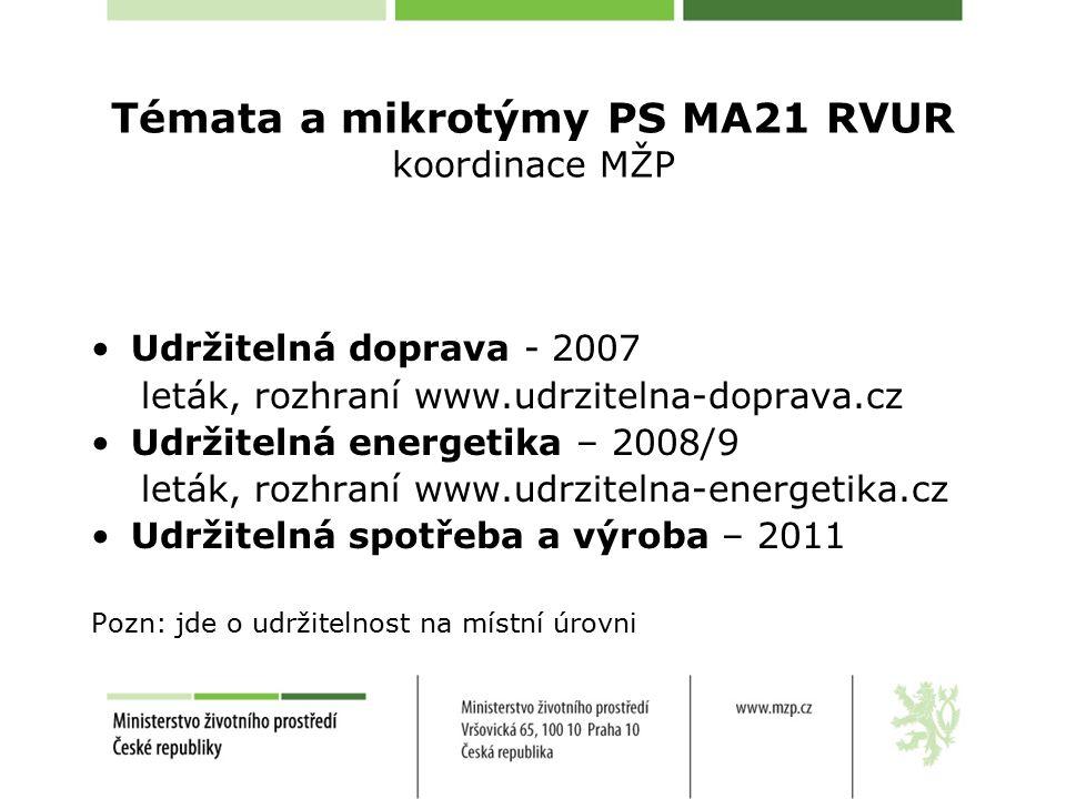 Témata a mikrotýmy PS MA21 RVUR koordinace MŽP Udržitelná doprava - 2007 leták, rozhraní www.udrzitelna-doprava.cz Udržitelná energetika – 2008/9 leták, rozhraní www.udrzitelna-energetika.cz Udržitelná spotřeba a výroba – 2011 Pozn: jde o udržitelnost na místní úrovni