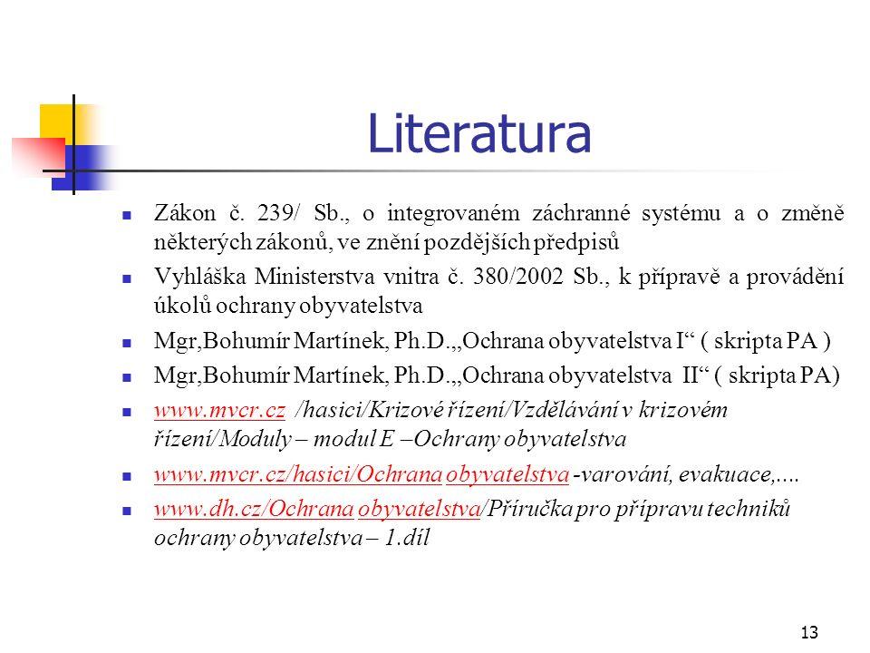 13 Literatura Zákon č.