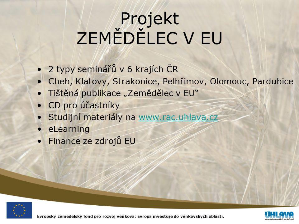 Evropský zemědělský fond pro rozvoj venkova: Evropa investuje do venkovských oblastí. Projekt ZEMĚDĚLEC V EU 2 typy seminářů v 6 krajích ČR Cheb, Klat