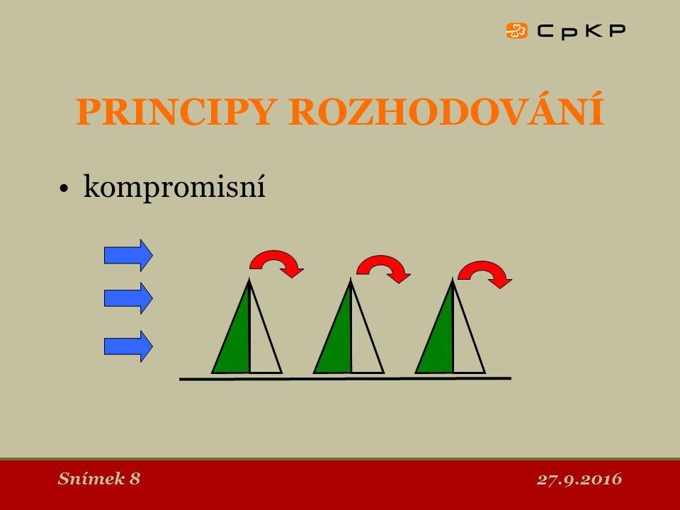 27.9.2016Snímek 8 PRINCIPY ROZHODOVÁNÍ kompromisní