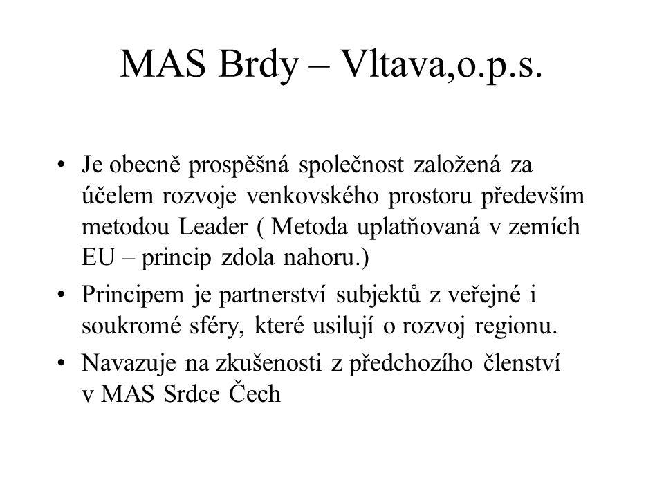 MAS Brdy – Vltava,o.p.s. Je obecně prospěšná společnost založená za účelem rozvoje venkovského prostoru především metodou Leader ( Metoda uplatňovaná