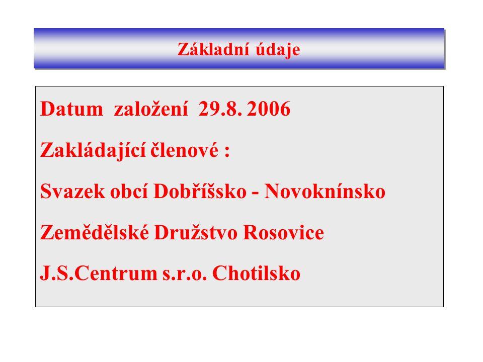 Datum založení 29.8. 2006 Zakládající členové : Svazek obcí Dobříšsko - Novoknínsko Zemědělské Družstvo Rosovice J.S.Centrum s.r.o. Chotilsko Základní