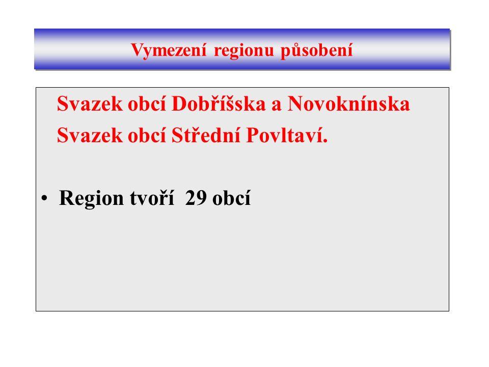 Svazek obcí Dobříšska a Novoknínska Svazek obcí Střední Povltaví. Region tvoří 29 obcí Vymezení regionu působení