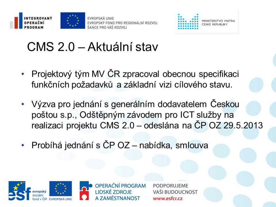 CMS 2.0 – Aktuální stav Projektový tým MV ČR zpracoval obecnou specifikaci funkčních požadavků a základní vizi cílového stavu. Výzva pro jednání s gen