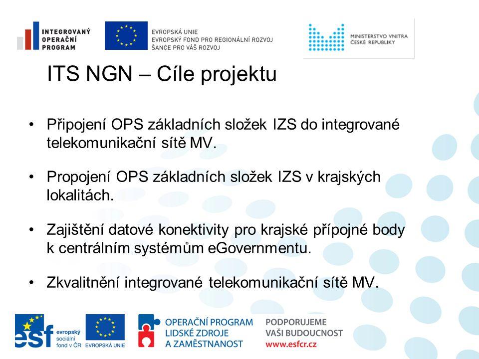 Připojení OPS základních složek IZS do integrované telekomunikační sítě MV. Propojení OPS základních složek IZS v krajských lokalitách. Zajištění dato