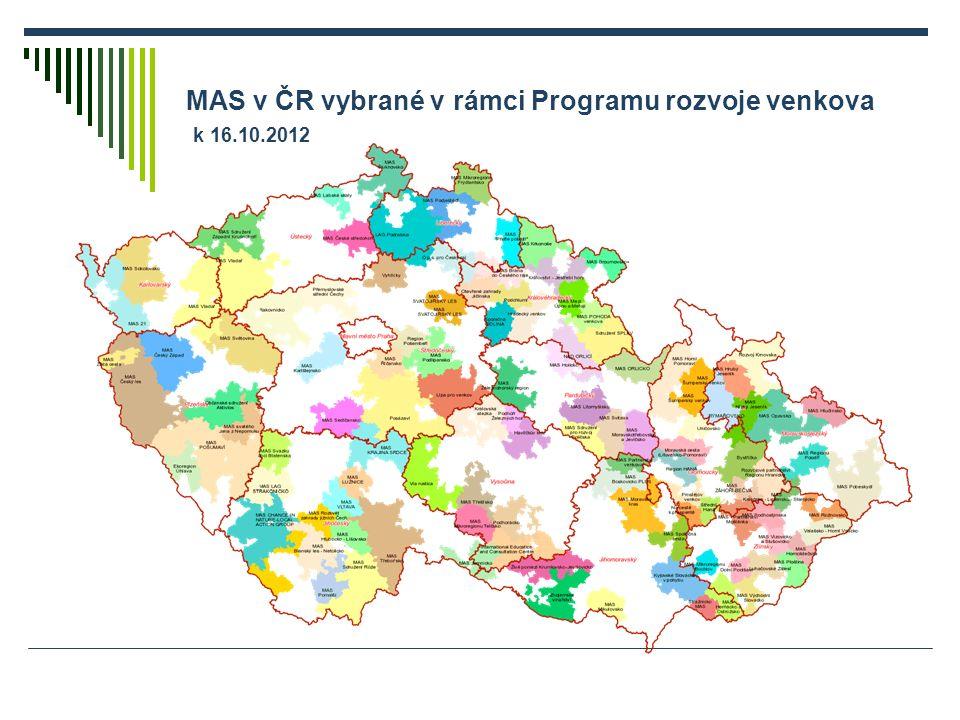 MAS v ČR vybrané v rámci Programu rozvoje venkova k 16.10.2012