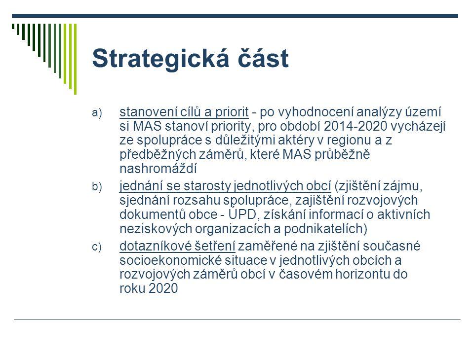 Strategická část a) stanovení cílů a priorit - po vyhodnocení analýzy území si MAS stanoví priority, pro období 2014-2020 vycházejí ze spolupráce s důležitými aktéry v regionu a z předběžných záměrů, které MAS průběžně nashromáždí b) jednání se starosty jednotlivých obcí (zjištění zájmu, sjednání rozsahu spolupráce, zajištění rozvojových dokumentů obce - ÚPD, získání informací o aktivních neziskových organizacích a podnikatelích) c) dotazníkové šetření zaměřené na zjištění současné socioekonomické situace v jednotlivých obcích a rozvojových záměrů obcí v časovém horizontu do roku 2020