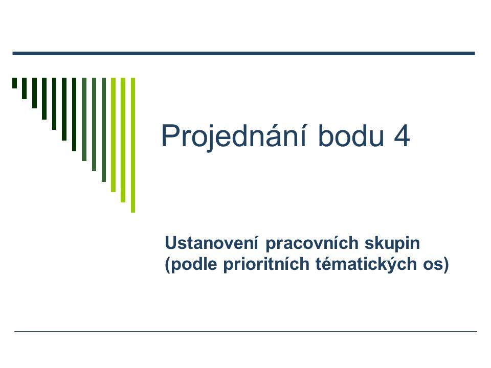 Projednání bodu 4 Ustanovení pracovních skupin (podle prioritních tématických os)