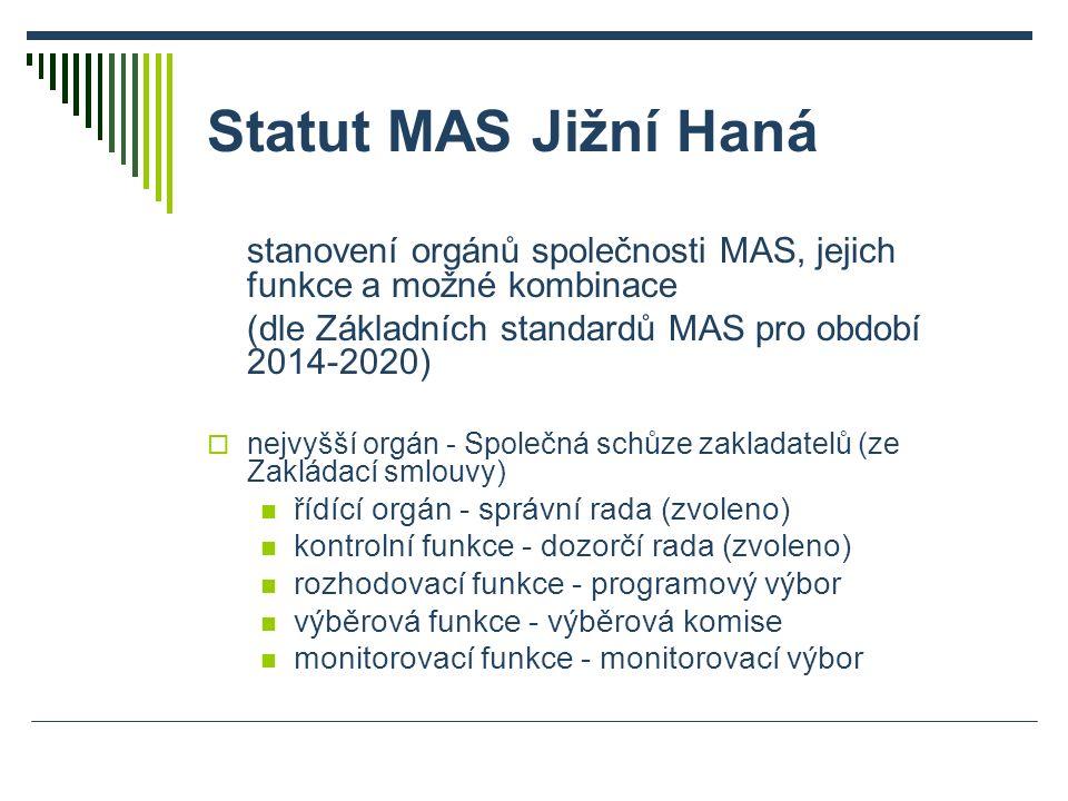 Statut MAS Jižní Haná stanovení orgánů společnosti MAS, jejich funkce a možné kombinace (dle Základních standardů MAS pro období 2014-2020)  nejvyšší orgán - Společná schůze zakladatelů (ze Zakládací smlouvy) řídící orgán - správní rada (zvoleno) kontrolní funkce - dozorčí rada (zvoleno) rozhodovací funkce - programový výbor výběrová funkce - výběrová komise monitorovací funkce - monitorovací výbor