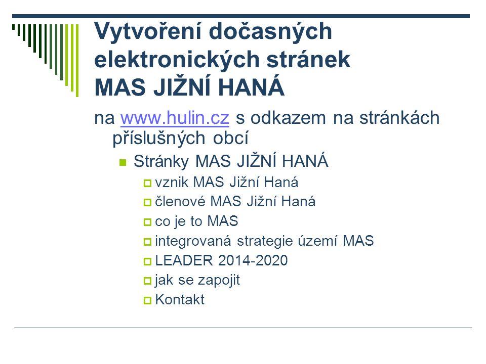 Vytvoření dočasných elektronických stránek MAS JIŽNÍ HANÁ na www.hulin.cz s odkazem na stránkách příslušných obcíwww.hulin.cz Stránky MAS JIŽNÍ HANÁ  vznik MAS Jižní Haná  členové MAS Jižní Haná  co je to MAS  integrovaná strategie území MAS  LEADER 2014-2020  jak se zapojit  Kontakt