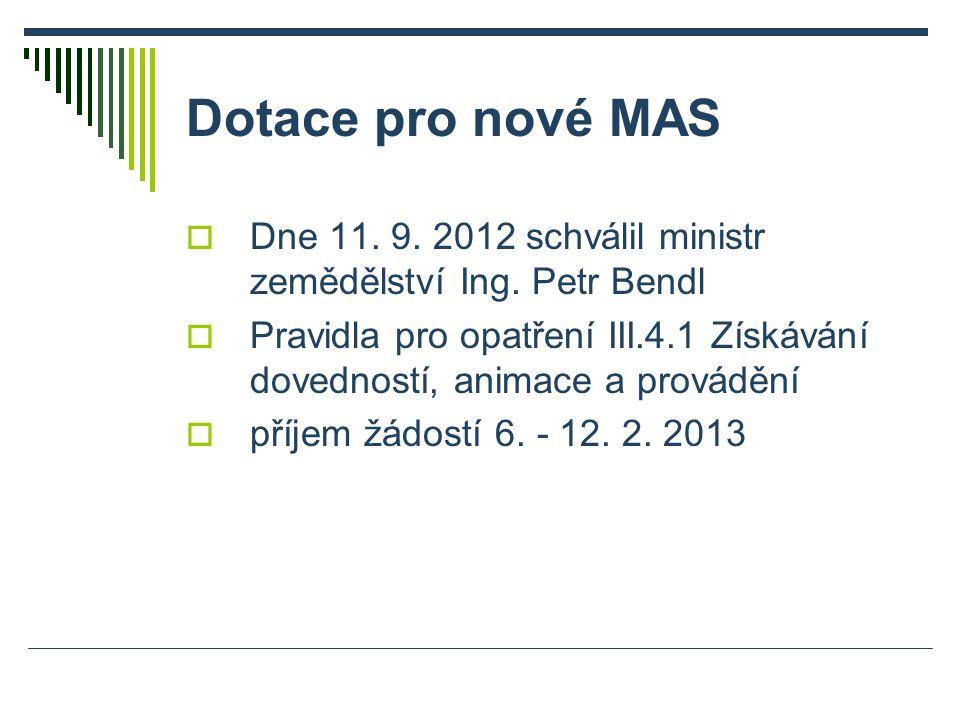 Dotace pro nové MAS  Dne 11. 9. 2012 schválil ministr zemědělství Ing. Petr Bendl  Pravidla pro opatření III.4.1 Získávání dovedností, animace a pro