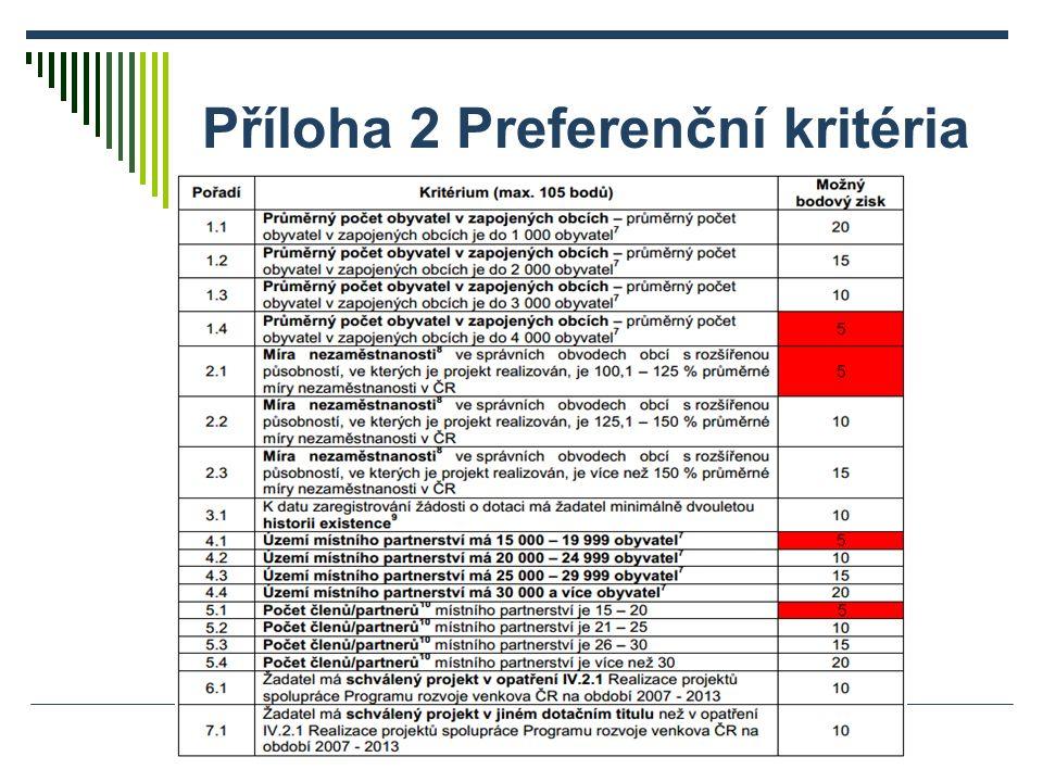 Příloha 2 Preferenční kritéria