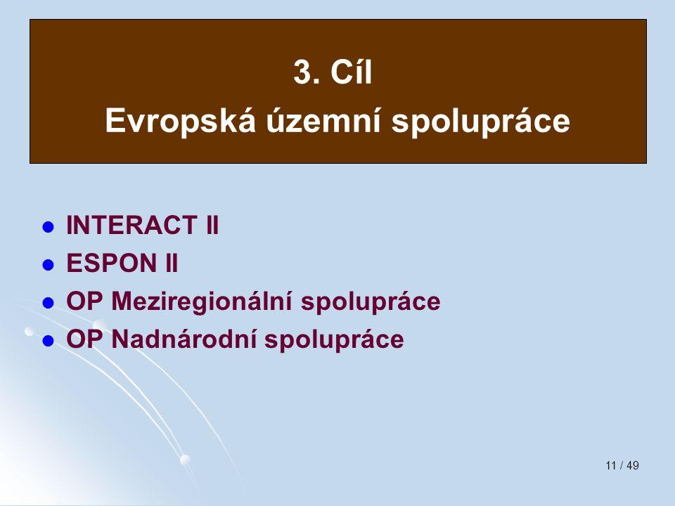 11 / 49 Evropská územní spolupráce INTERACT II ESPON II OP Meziregionální spolupráce OP Nadnárodní spolupráce 3. Cíl Evropská územní spolupráce