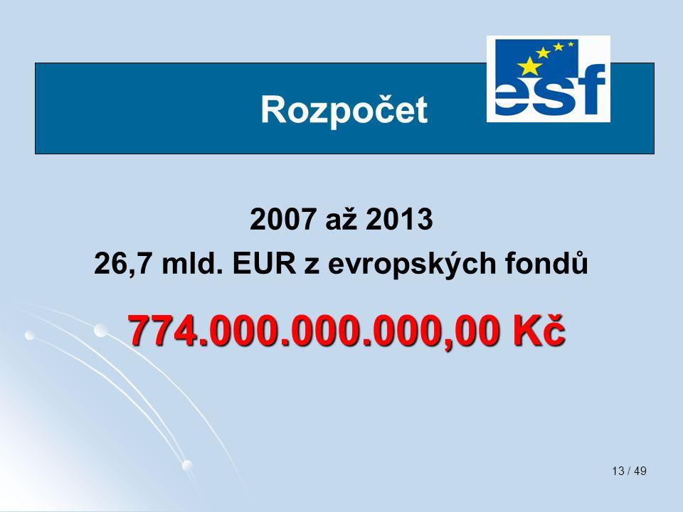 13 / 49 swq 2007 až 2013 26,7 mld. EUR z evropských fondů 774.000.000.000,00 Kč 774.000.000.000,00 Kč Rozpočet