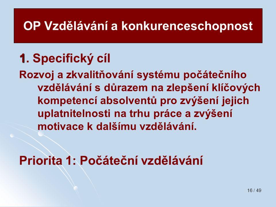 16 / 49 1 1. Specifický cíl Rozvoj a zkvalitňování systému počátečního vzdělávání s důrazem na zlepšení klíčových kompetencí absolventů pro zvýšení je