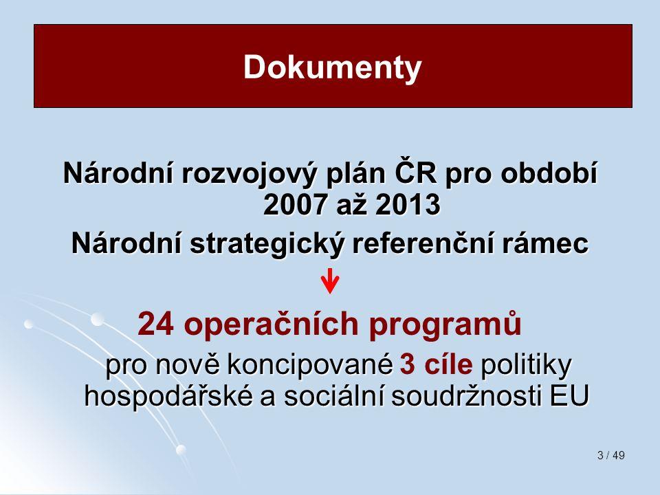 3 / 49 Národní rozvojový plán ČR pro období 2007 až 2013 Národní strategický referenční rámec 24 operačních programů pro nově koncipované politiky hos