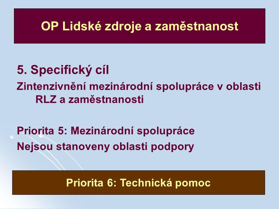 30 / 49 5. Specifický cíl Zintenzivnění mezinárodní spolupráce v oblasti RLZ a zaměstnanosti Priorita 5: Mezinárodní spolupráce Nejsou stanoveny oblas