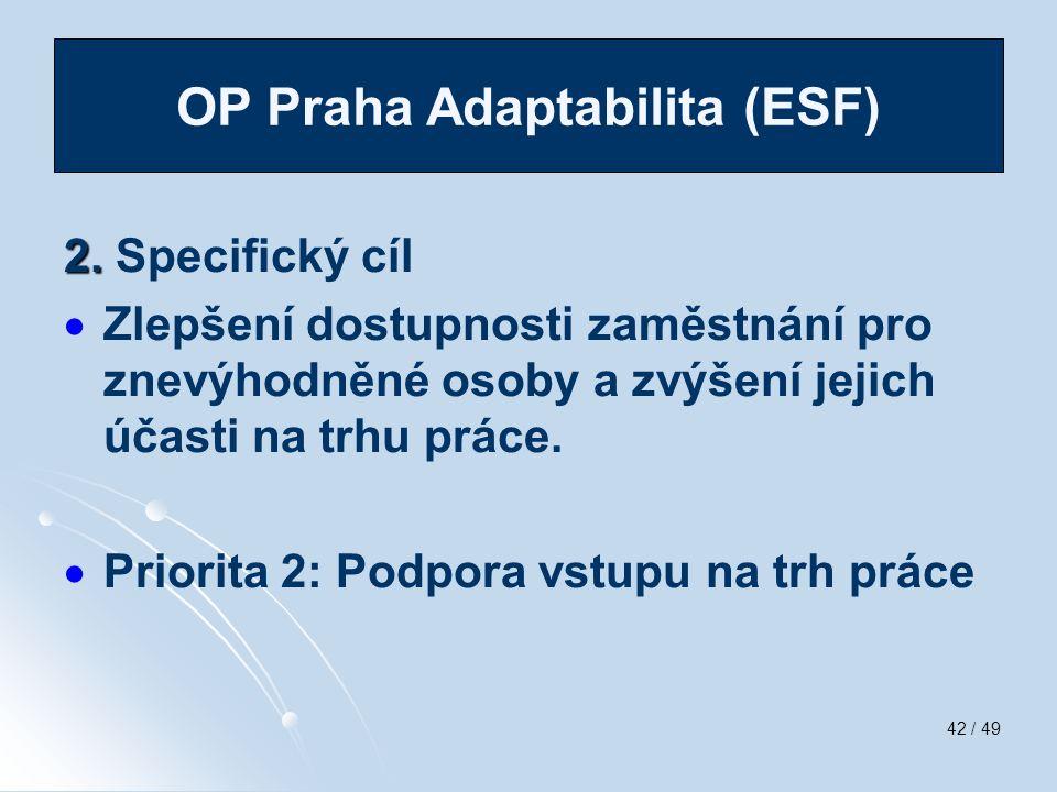 42 / 49 2. 2. Specifický cíl   Zlepšení dostupnosti zaměstnání pro znevýhodněné osoby a zvýšení jejich účasti na trhu práce.   Priorita 2: Podpora