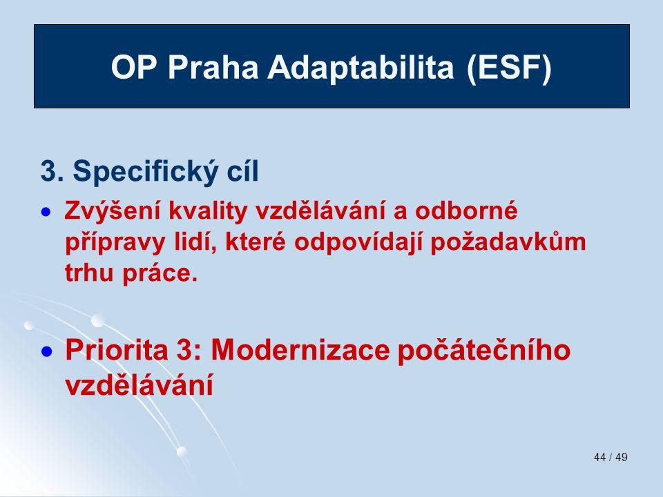 44 / 49 3. Specifický cíl   Zvýšení kvality vzdělávání a odborné přípravy lidí, které odpovídají požadavkům trhu práce.   Priorita 3: Modernizace