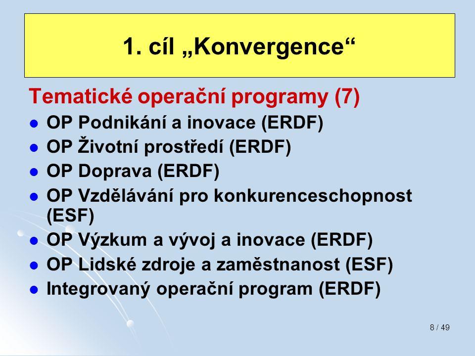 8 / 49 Tematické operační programy (7) OP Podnikání a inovace (ERDF) OP Životní prostředí (ERDF) OP Doprava (ERDF) OP Vzdělávání pro konkurenceschopno